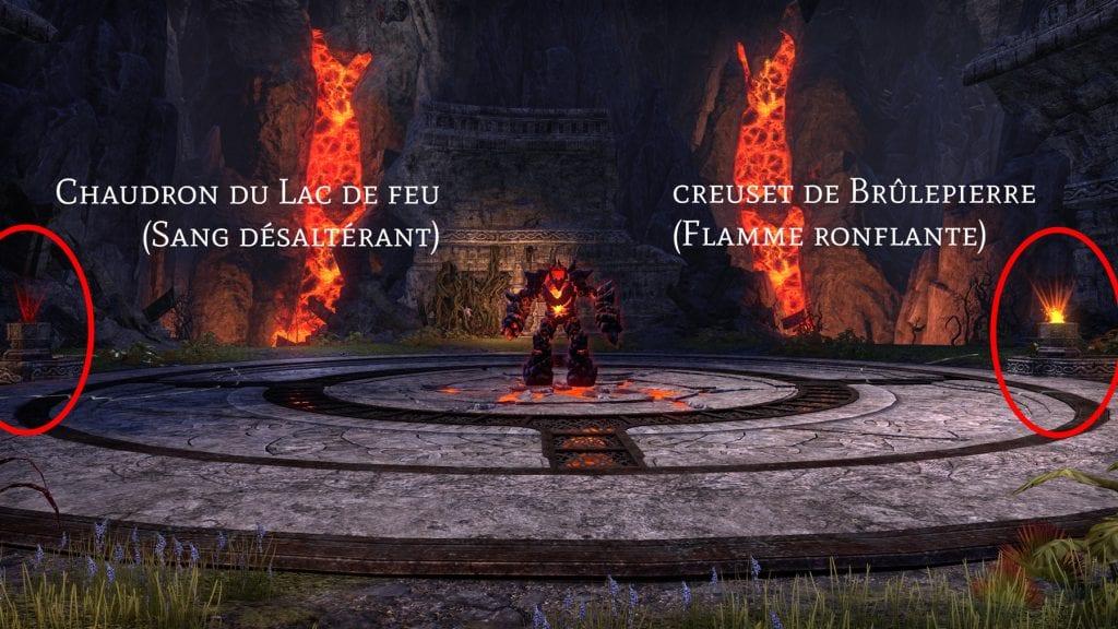 Amalgame de Sangreterre avec le Chaudron du Lac de feu et le creuset de Brûlepierre
