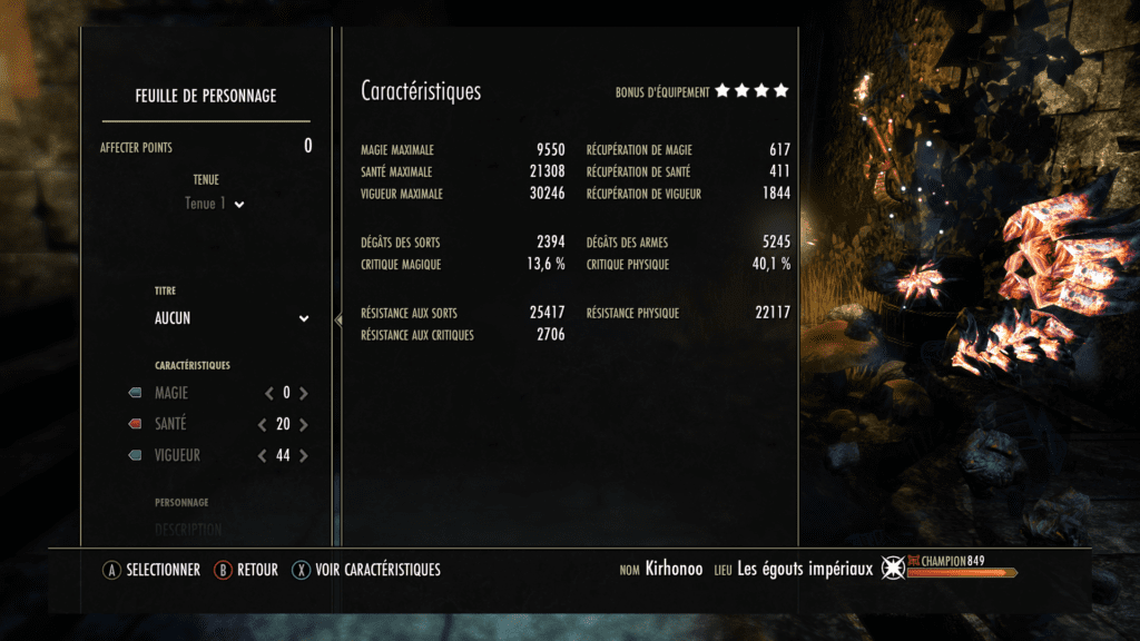 Caractéristiques, sans passifs d'indomptable / Bloodspawn. Avec potion tri-stats. Sans bonus de parchemins et forts.